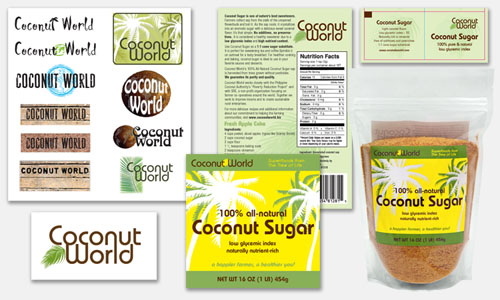 Graphic Design Sample: Coconut World Logo & Packaging Designs