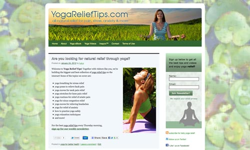 relaxing yoga website design