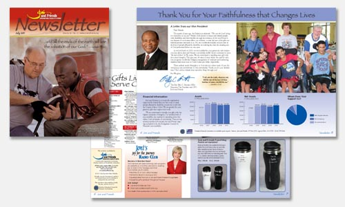 graphic design sample: July newsletter design