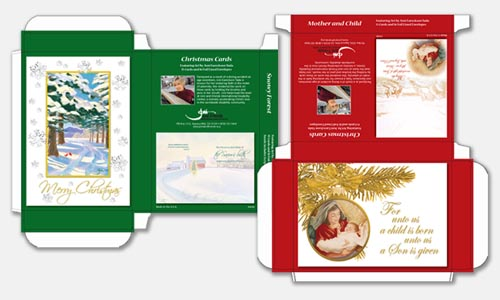 Graphic design sample: Christmas card box designs