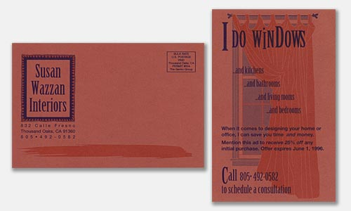 Graphic Design Sample: two-color postcard design on colored paper