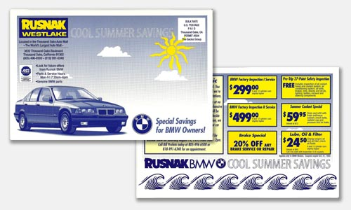 Graphic Design Sample: two-color postcard design for BMW dealer