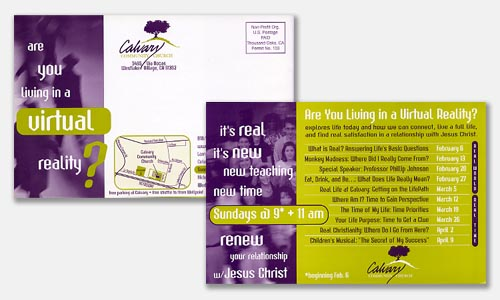 Graphic Design Sample: two-color postcard design