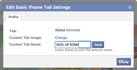 change your facebook fan page custom tab names