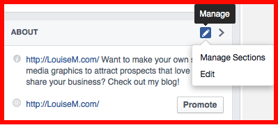 How to manage Facebook page sections