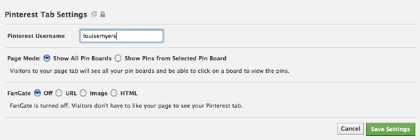 Add a Pinterest Tab to your Facebook Fan Page Step 2
