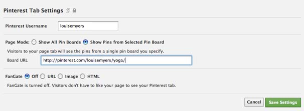 Add a Pinterest Tab to your Facebook Fan Page Step 2 - single board