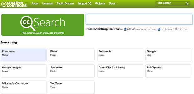 best free photo sites: creative commons search
