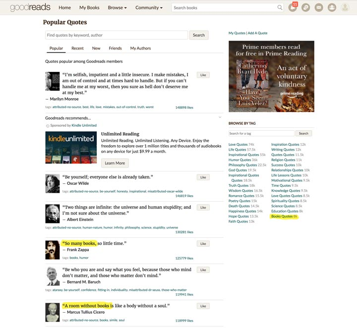 GoodReads for member-ranked quotes screenshot