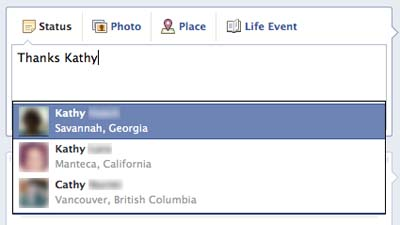 How to Tag First Names on Facebook step 1