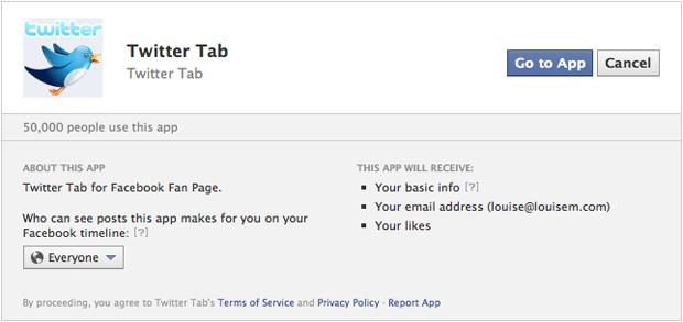 Accept Twitter Facebook App