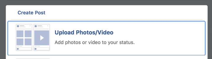 upload video to facebook screenshot