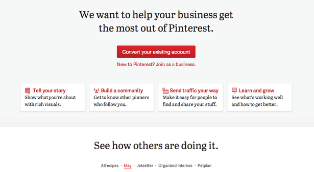 Pinterest for Business Site