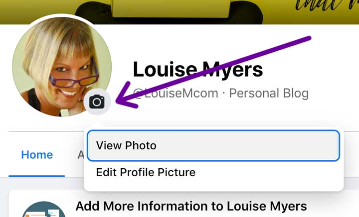 screenshot of how to change facebook page profile pic on mobile.