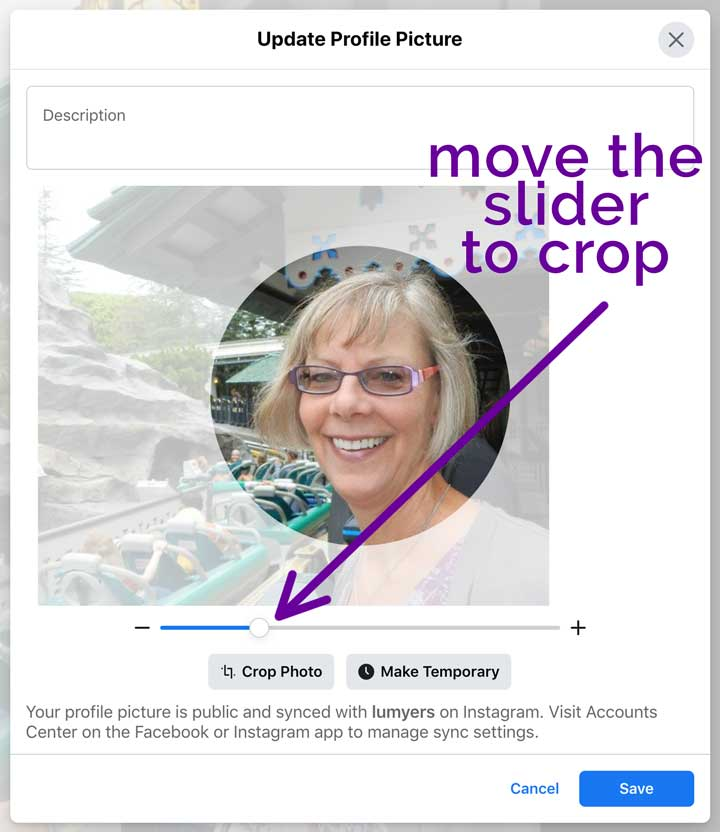 screenshot showing how to crop facebook profile picture.