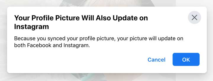 screenshot of notice Facebook profile picture synced with Instagram.