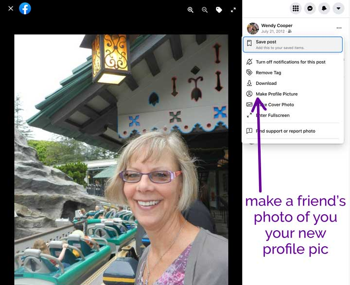 screenshot of how to use friends photo as your Facebook profile picture.