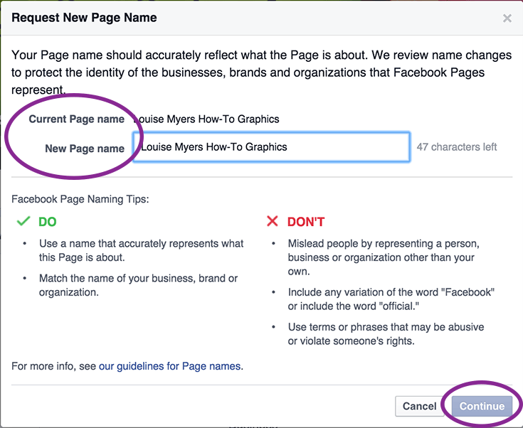 How to Change Your Facebook Page Name Step 2: Fill in your new name and subit request