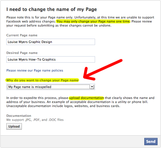 How to Change Your Facebook Page Name: Form