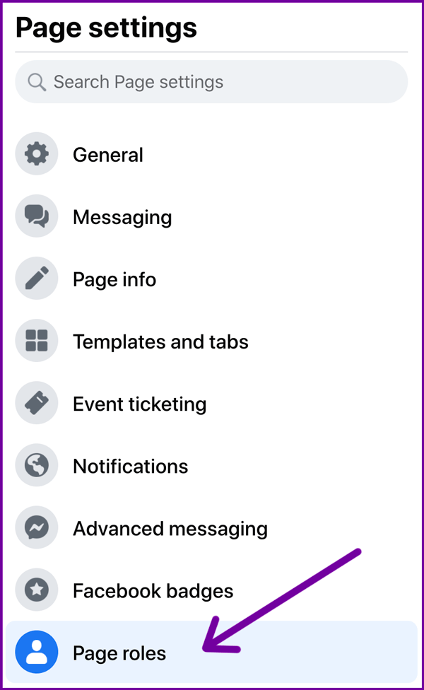 access facebook settings for page roles