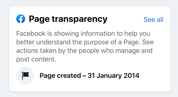 facebook Page Transparency section