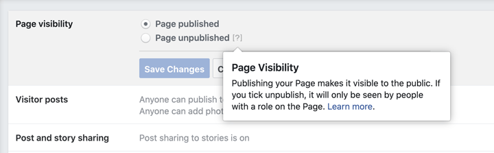 how to unpublish a facebook page screenshot