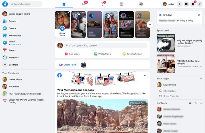 Facebook homepage on desktop.