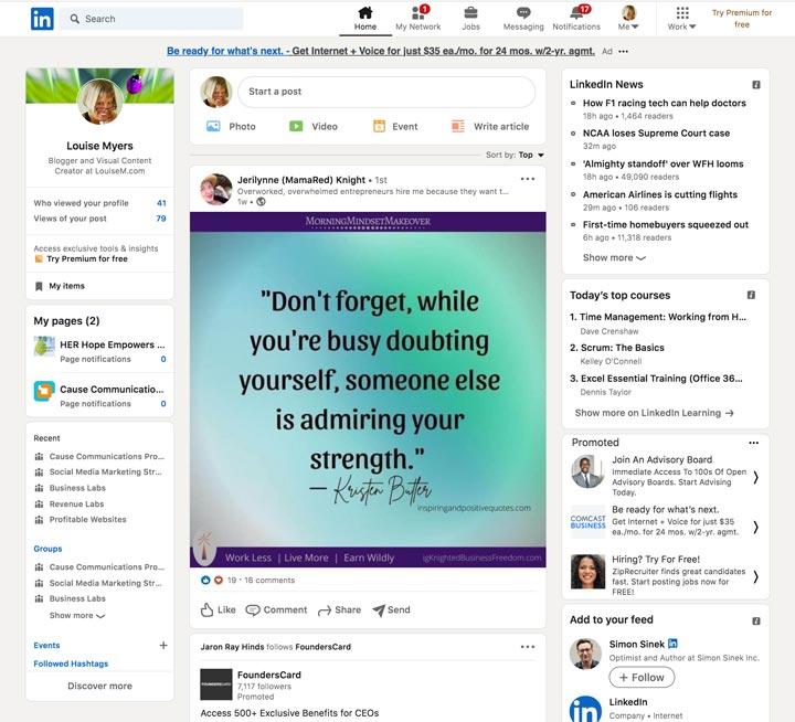 LinkedIn homepage on desktop.