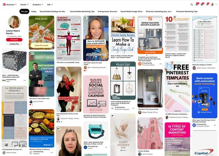 Pinterest homepage on desktop.