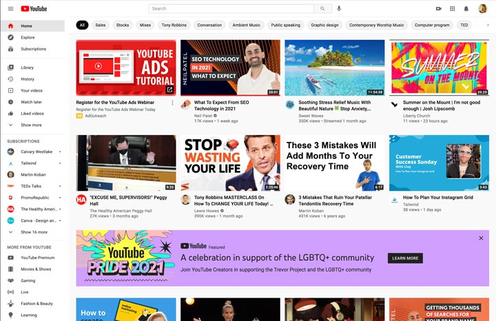 YouTube homepage on desktop.