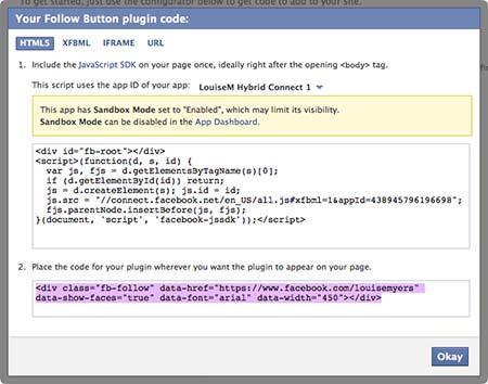 Facebook Follow Button HTML