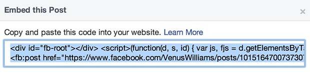 Facebook Embedded Posts Step 2