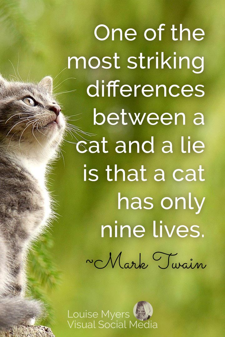 Mark Twain quote image: difference between cat and lie