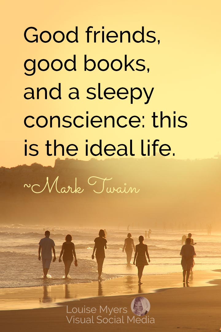 Mark Twain quote image: good friends and good books