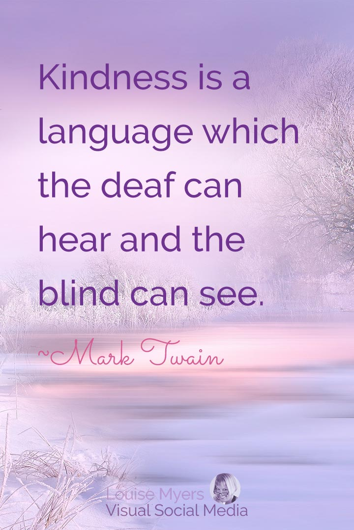 Mark Twain quote image: kindness is a language