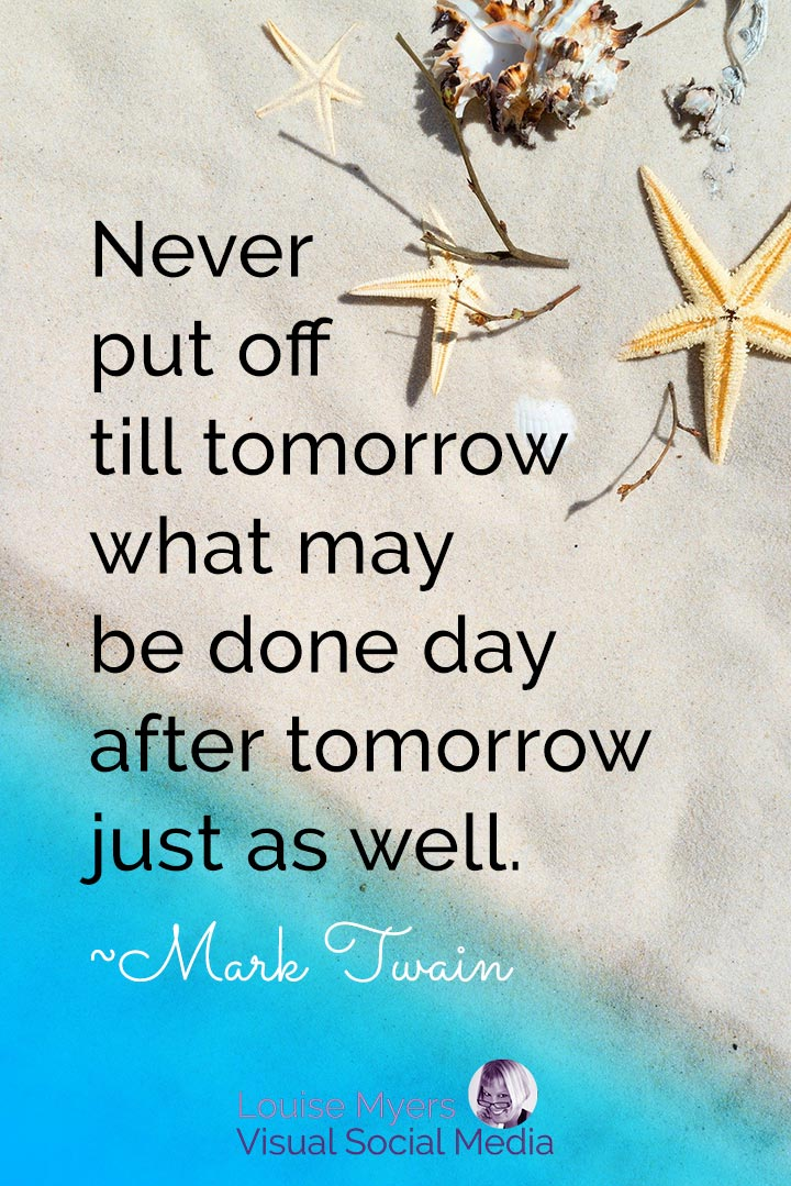 Mark Twain quote image about procrastination