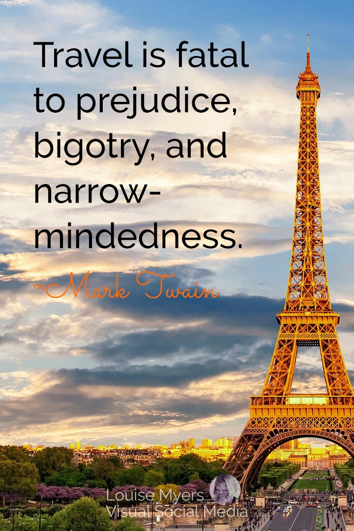 Mark Twain quote image: travel is fatal to prejudice