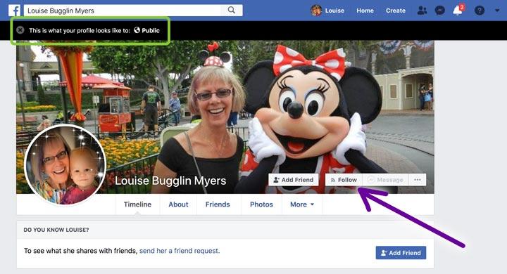 facebook follow button on profile screenshot