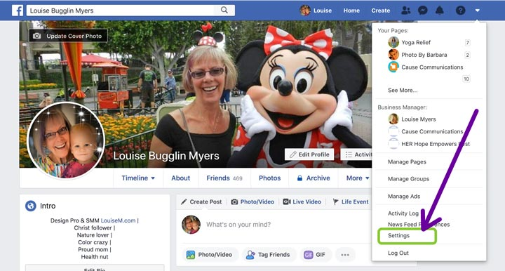 facebook settings screenshot
