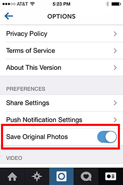 Instagram Photos: save original