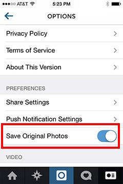Instagram Photos: save original