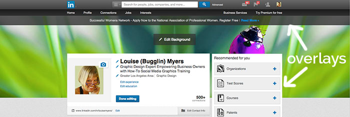 Overlays on the LinkedIn cover photo