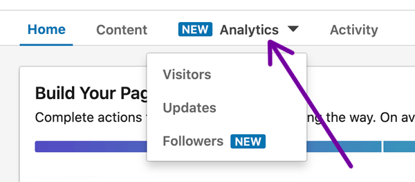 LinkedIn Company Page analytics dropdown