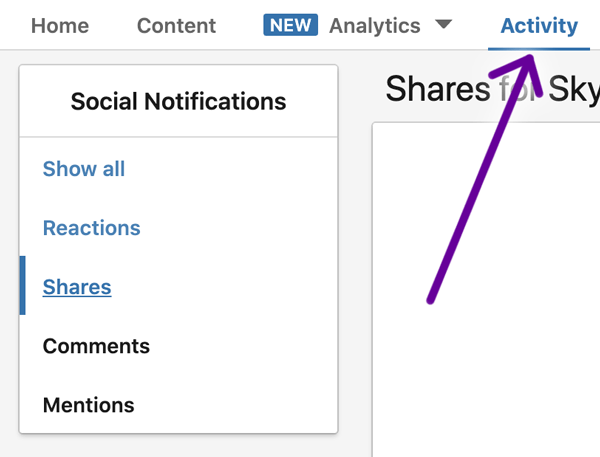 LinkedIn activity dropdown screenshot