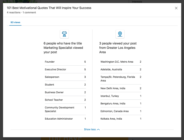 linkedin on post analytics screenshot