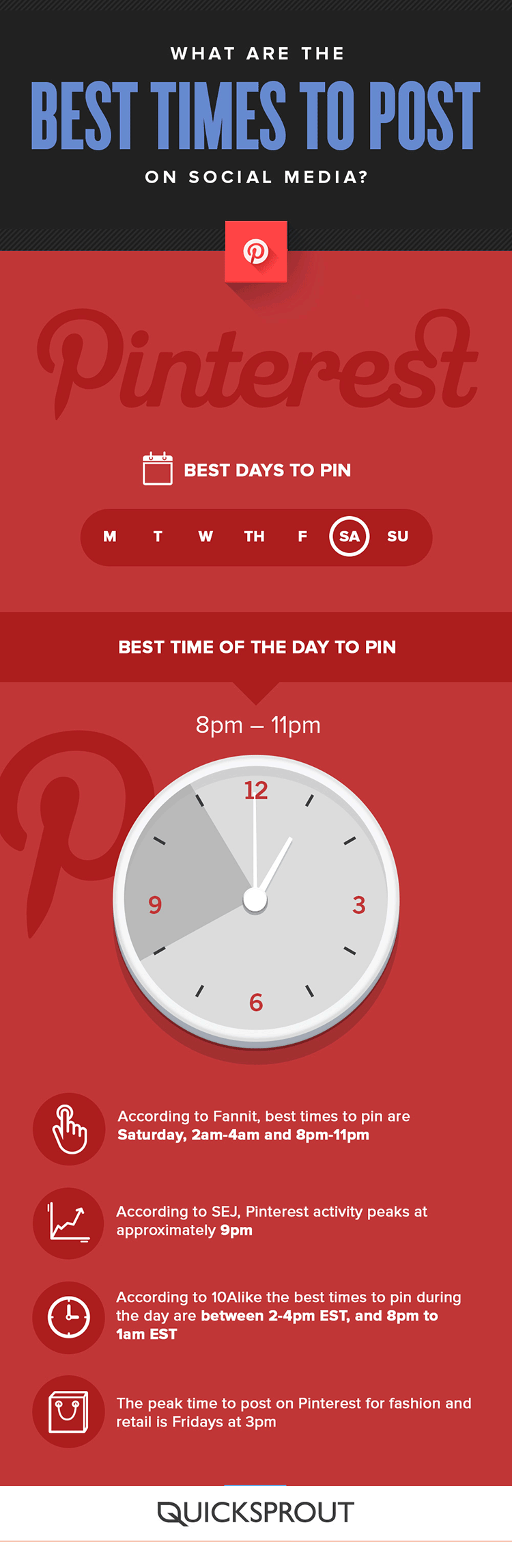 Wondering the best time to pin on Pinterest? It's an important platform for website traffic, so you'll want to time your pins right. Check this infographic!