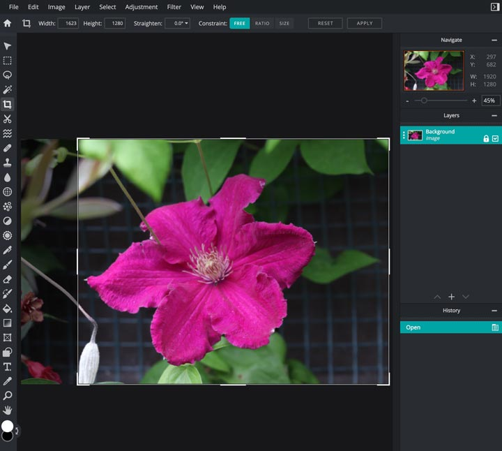 how to crop a photo in pixlr.