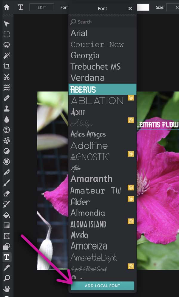 how to add fonts to pixlr.