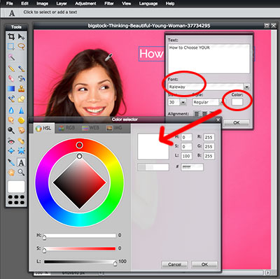 How to Use Pixlr to Add Text to Photos:  Step 3