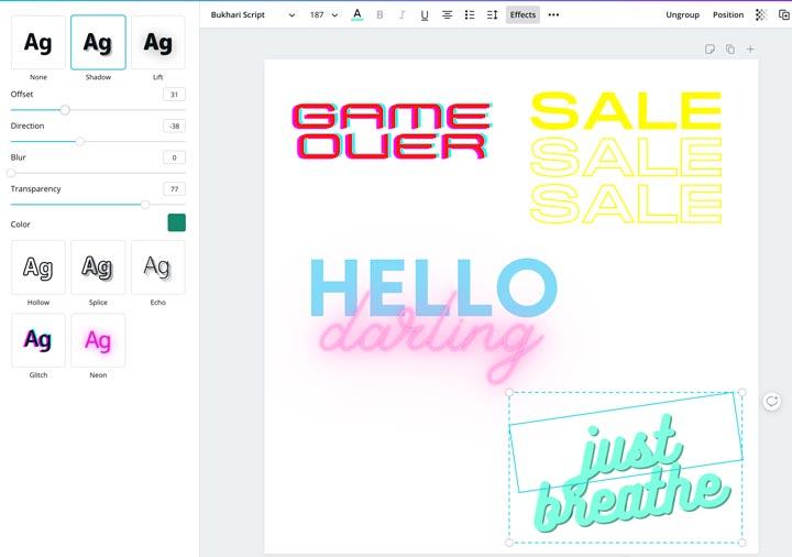 canva font effects options